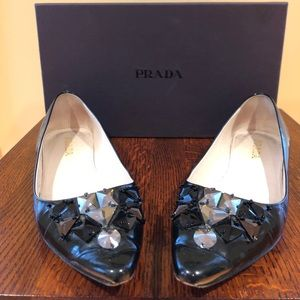 Prada gunmetal flats with multi jewels